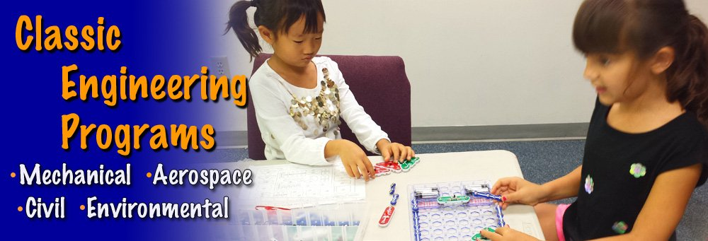 Classical Engineering programs emphasizing science, math practice and engineering design process. stem steam camps classes after school track out